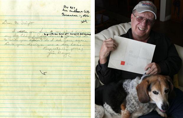 A carta que Jim Berger escreveu para Frank Lloyd Wright e a resposta do arquiteto, guardada ate hoje por Jim, na foto com seu beagle.