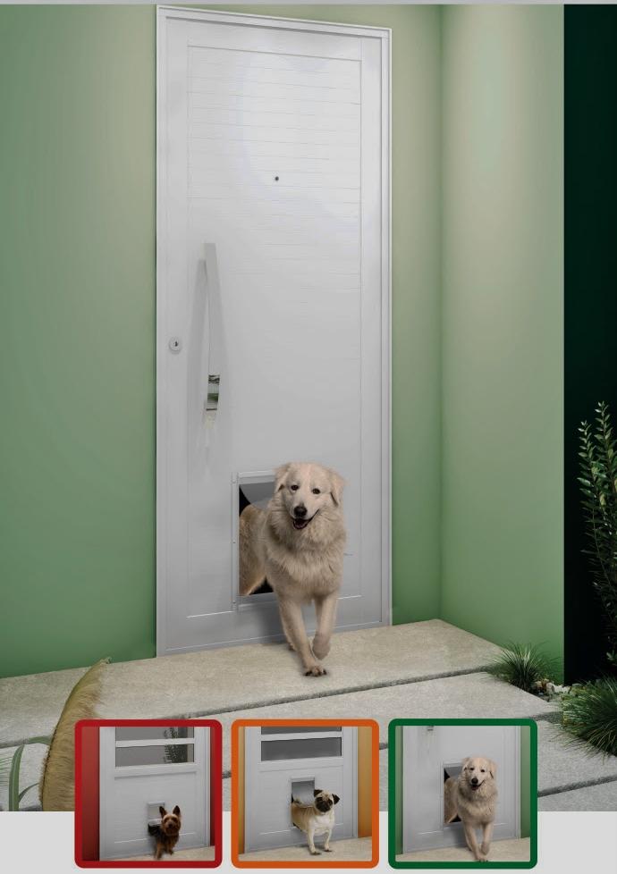 Esta é uma porta de alumínio da linha Eterna, da Gravia, que possui o acessório para a entrada de cães ou gatos. Podem ser de tres tamanhos, pequeno, médio ou grande. E de uso interno ou externo.