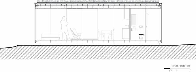 Corte para visualização do interior do MiniMod, feito pela MAPA Arquitetos