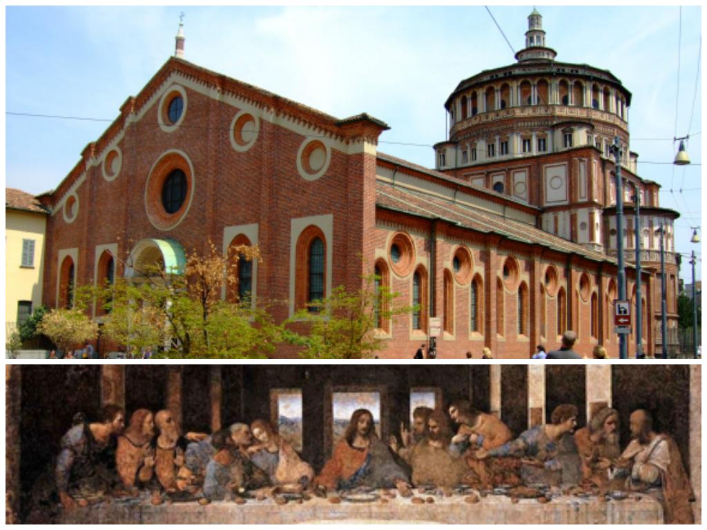 """O duque de Milão Francesco Sforza ordenou a construção de um convento da Ordem Dominicana e uma igreja no local onde uma foi erguida uma pequena capela dedicada a Santa Maria da Graça ao  arquiteto Guiniforte Solari, sendo concluído em 1469, enquanto a igreja demorou mais tempo. O novo duque Ludovico Sforza decidiu que a igreja seria lugar do enterro da família Sforza e reconstruiu o claustro e a abadia, que foram concluídas após 1490. A abside da igreja foi feita por Donato Bramante que seguiu o estilo gótico porém com a influência românica. Em 1543, uma capela lateral recebeu uma pintura de Ticiano: """"A Coroação de Espinhos""""  levada na época de Napoleão (1797) e se encontra no Museu do Louvre. A Última Ceia foi encomendada para decorar uma das paredes do refeitório e foi realizada entre 1494-1498. Devido a perspectiva perfeita (em um dos restauros foi encontrado um prego na cabeça de Jesus que marcava o ponto de fuga), que prolonga a sala em 1/3, a grande sacada de Leonardo foi ter escolhido um momento peculiar do Evangelho de João, quando Jesus anuncia: um de vocês me trairá (até então as santas ceias tradicionais representavam Judas isolado, já como traidor e eram solenes, mas estáticas), e por isso ficou tão famosa já naquela época!"""