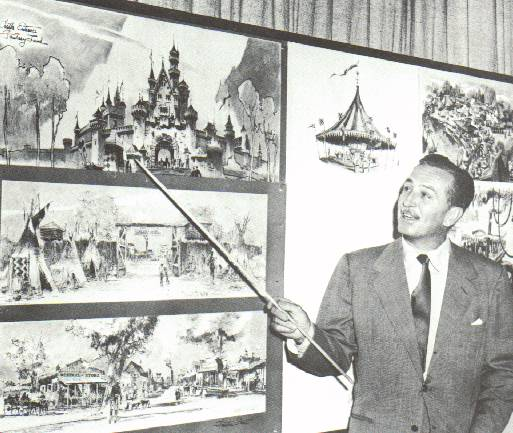"""Walt e seus famosos """"story boards"""", onde ele apresentava suas idéias em quadros. Para o projeto da Disneyland não seria diferente..."""