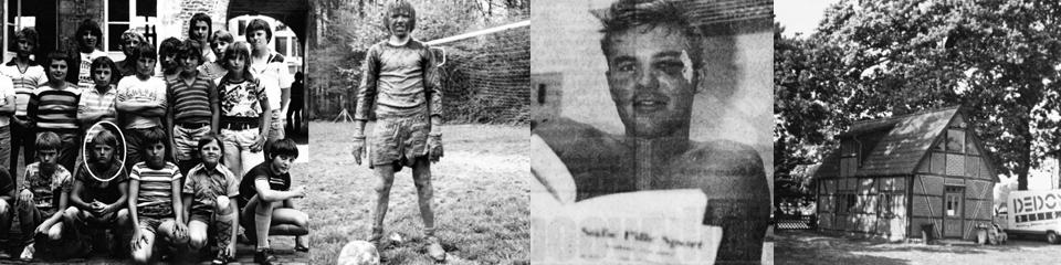 Arquivo pessoal de Bobby Dekeyser, infância, jogando bola, depois do acidente no jogo e a fabrica em Hamburgo.