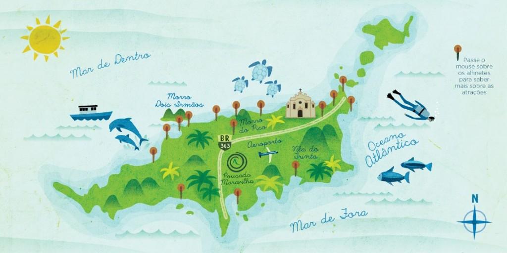 Mapa de Fernando de Noronha Fernando de Noronha´s Map.