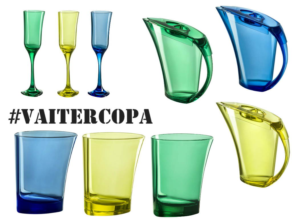 Taças, jarras, copos da Varanda, que está com essas e outras novidades... Tudo em verde e amarelo, azul e branco também!!!