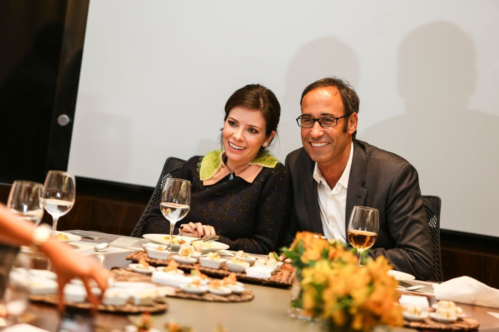 A anfitiã Patricia Cardim com Michel Penneman no almoço organizado no Belas Artes