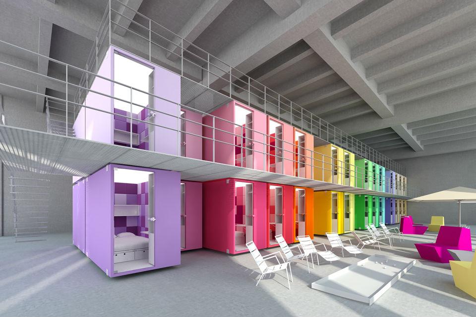 Projeto para o Youth Hostel com a paleta de cores pantone sinalizando cada quarto.