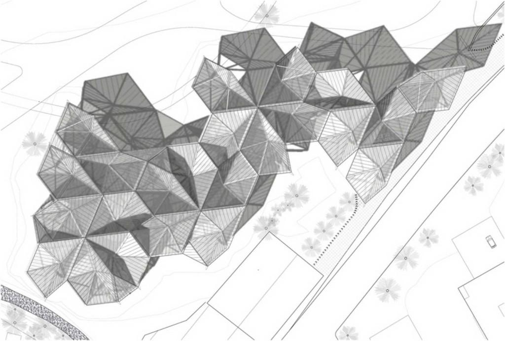 Desenho do pavilhão de vidro e aço, projeto de Moneo Brock.