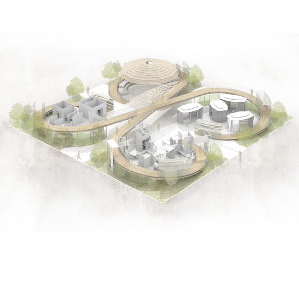 3D do conceito das passarelas levando a cada um dos espaços idealizados, cercados de verde e com caminhos que convidam a sempre estar em movimento, em torno de idéias. Image Credit: Saverio Lombardi Vallauri