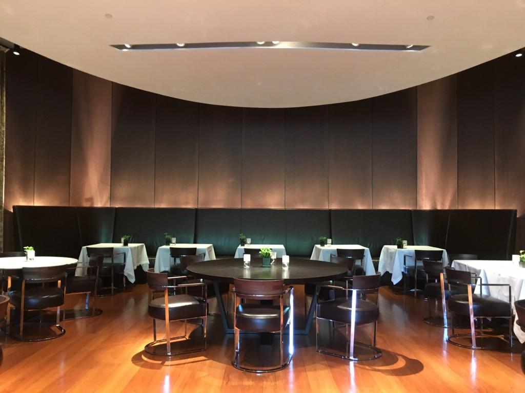 Salão do restaurante do Bulgari Hotel