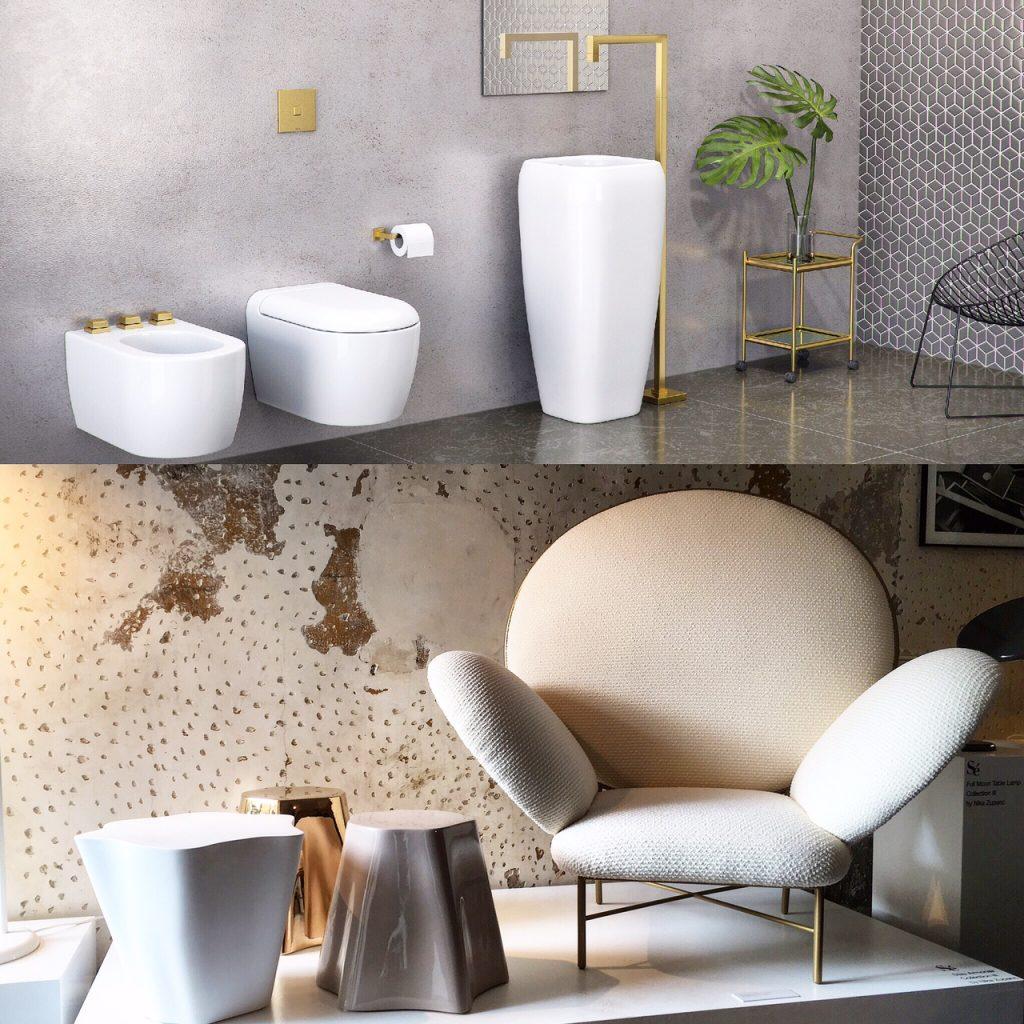 Um paralelo entre um banheiro com louças e metais Deca e o design arrojado da coleção Sé exposta no fuorisalone de Rossana Orlandi, na semana de design de Milão deste ano.
