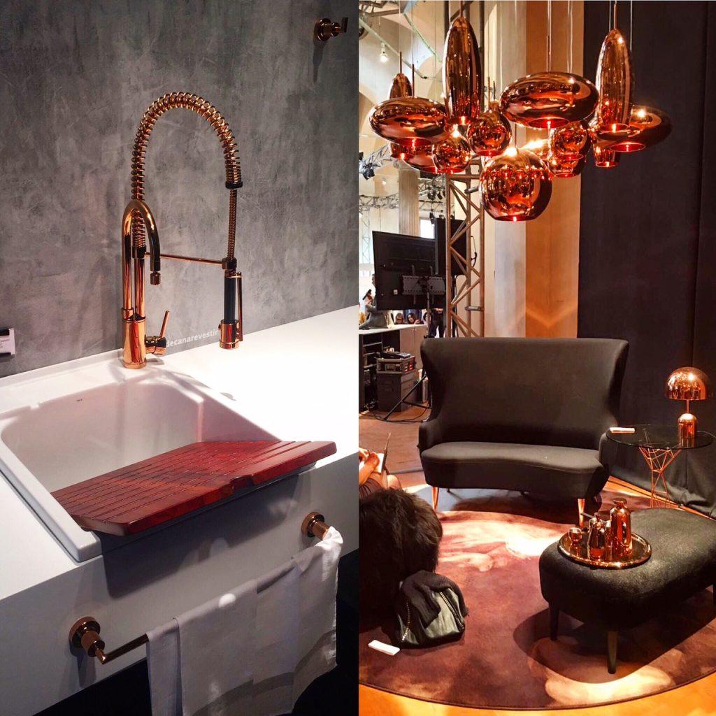 O acabamento do momento, tendência forte vista em Milão: Red Gold. Linha Gourmet na esquerda e Luminárias Tom Dixon na direita.