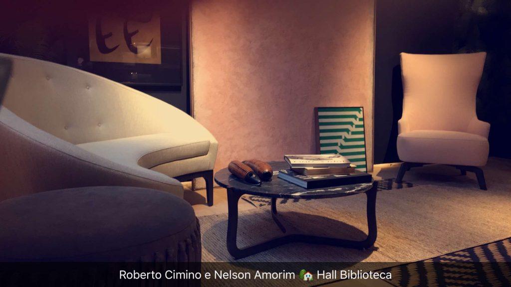 Um dos ambientes do Hall da Biblioteca de Roberto Cimino e Nelson Amorim, privilegiando o estilo modernista em alta nos anos 40.